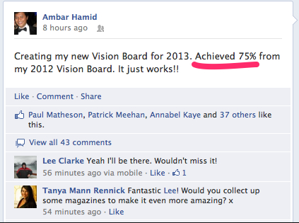 FB Post On Vision Board